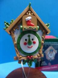 Hallmark 1988 CHRISTMAS CUCKOO Ornament Clock Pine Cone & Bluebird Movement New