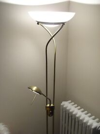 Brass effect standard lamp, with reading arm.