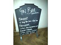 vintage deco firescreen mancave pub home bar sign wedding message menu blackboard chalk board