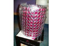 dark pink crystal cylinder pendant light fitting