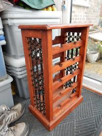 Freestanding Cast Iron and Wood Wine Rack