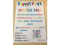 JUMBLE SALE 1st JULY IN CAMBRIDGE