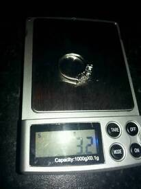 White gold diamond ring size o