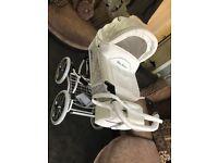Baby Fashion White Wicker Pram