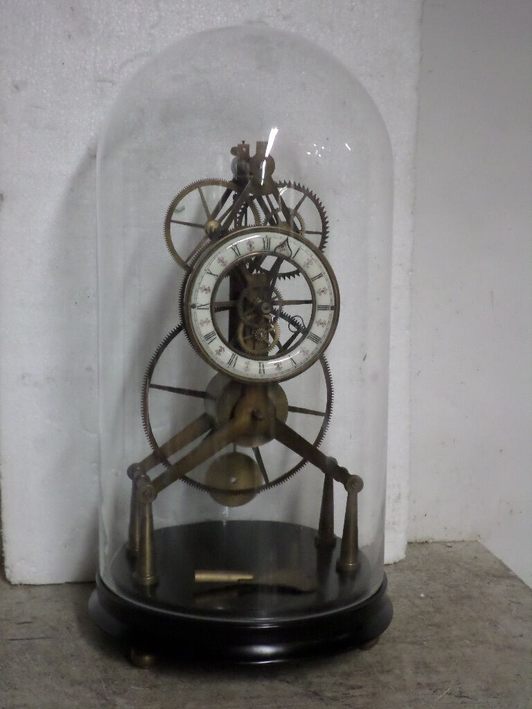 Great Wheel Skeleton Clock With Porcelain Dial and Glass Dome/Wood Base-BUY NOW!