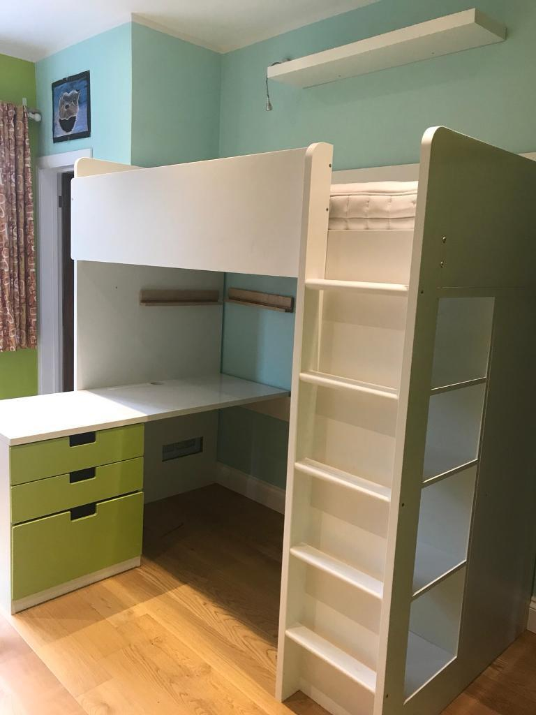 Ikea Stuva Loft Bed Combo W 3drawers 2 Doors White Green