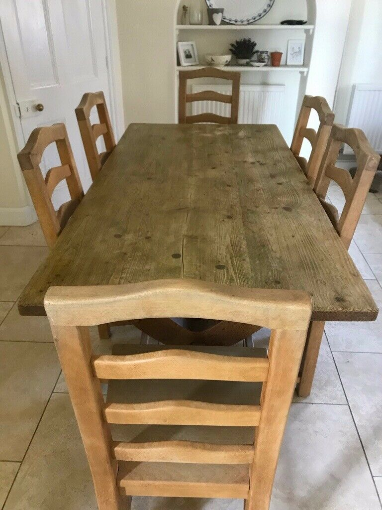online store 84194 83ea4 Vintage solid wood 6 foot x 3 foot dining table and 6 chairs - great  quality | in Swindon, Wiltshire | Gumtree