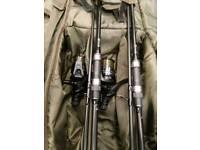 Fox Warrior S Carp Rods x2 12ft X 3 + fox Eos 10000 reels X2 & avid rod bag .
