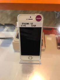 iPhone SE, white and silver, unlocked, 32gb