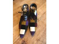 Katharine Hamnett patchwork suede leather ankle boot, size 6.