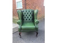 Green Leather Chesterfield Queen Anne Wing Back Chair