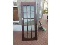 15 Glass Panel, Solid Mahogany Door - Good Condition
