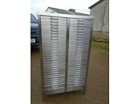 Lovely Industrial / Retro 60 Draw Metal Filing Cabinet Stripped & Polished Delivery Can Be Arranged.