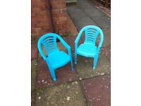 2 x kids blue plastic garden / pinic chairs