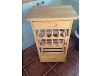 Wood kitchen trolly storage wine rack