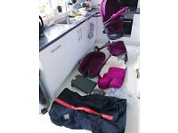 Stokke Xplory v3 Pram Pushchair & Carry Cot in Purple PLUS a lot of accessories