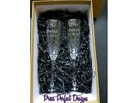 Personalised Engraved Pair Champagne Flutes and Gift Box