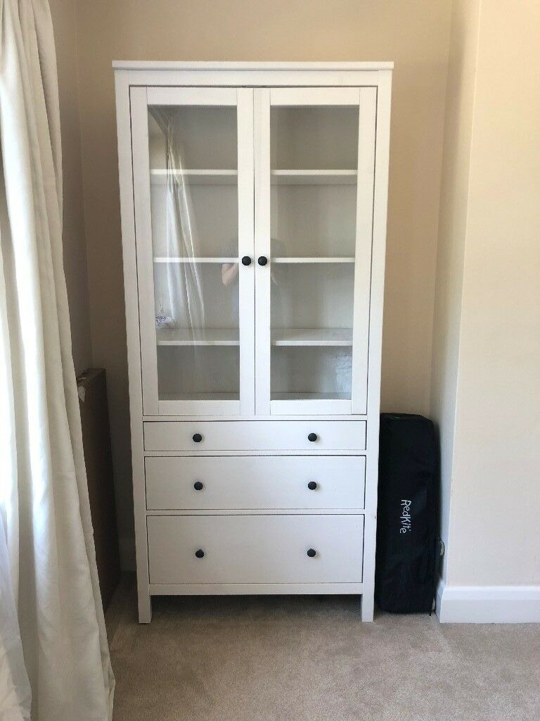 IKEA HEMNES Glass door cabinet with 3 drawersin Kingston, London - Were selling this IKEA HEMNES Glass door cabinet with 3 drawers as weve recently moved house and no longer need it. In great condition, has had light usage over a couple of years. Key features Solid wood has a natural feel. Large drawers for hidden,...