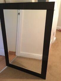Large black mirror 106cm width x 74cm height