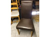 4 faux leather brown dining chairs