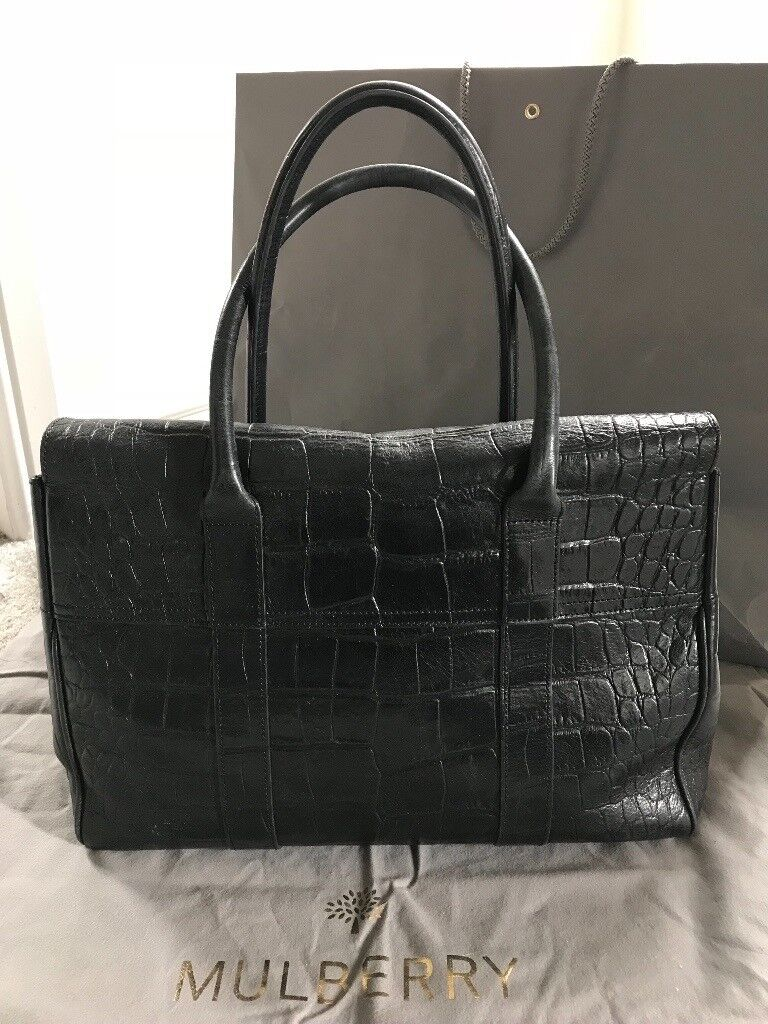 ... denmark genuine mulberry bayswater bag in black deep croc print excellent  condition 5ae36 cf7f0 f5f73bfb2989a