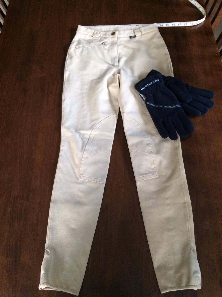 "Ladies Mountain Horse Breeches 26"" Waist & New Mountain Horse Gloves"