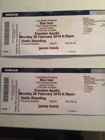 Bon Iver standing ticket 26th of February Hammersmith