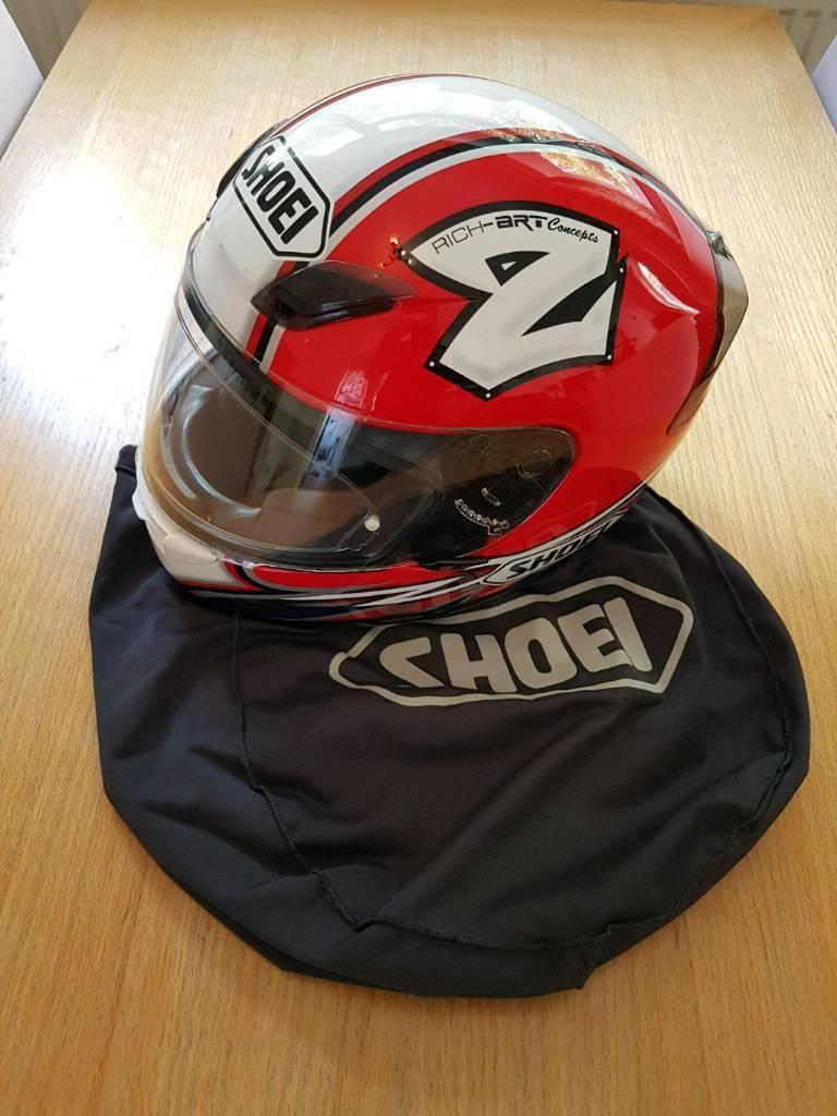 Very rare Rutter Replica Shoei XR1000 helmet signed by Michael Rutter