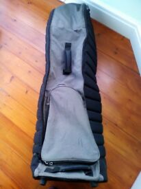 Black/Grey padded golf travel bag with wheels