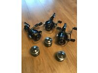 Three Shimano XT RB Carp Baitrunner Fishing Reels with spare spools - in great condition.