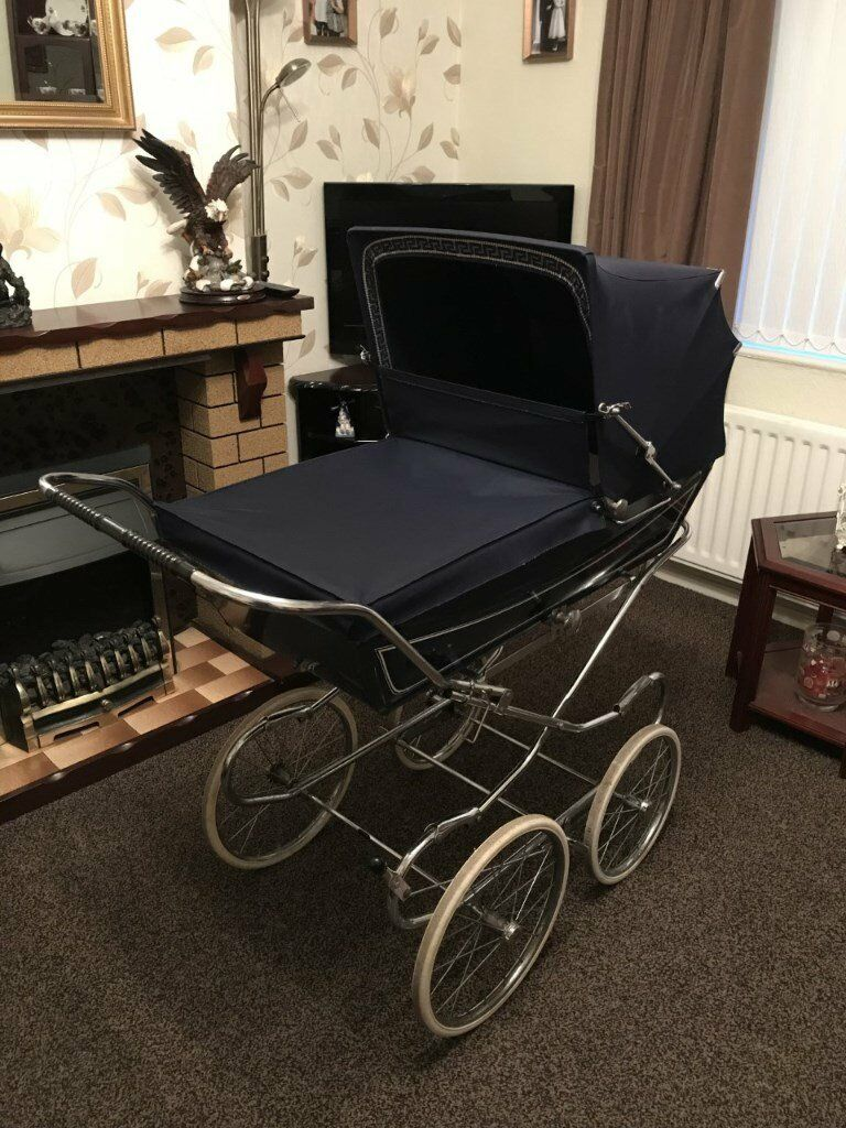 Marmet 1970s Vintage Pram In Royal Blue In Newtownabbey