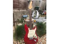 Encore flame red electric guitar