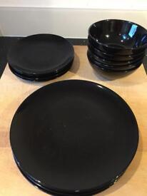IKEA black plate/side plate/bowl set
