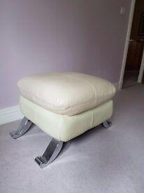 Cream leather footstool