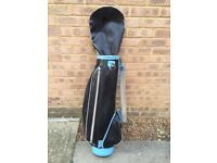 Golf bag black and blue with pockets and handle