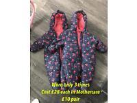 Twin girls snowsuit pram suit coat