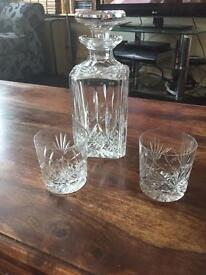 Beautiful Square Cut Glass Whisky Decanter 23cm High & Two Tumblers