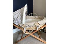 Mamas and papas Moses basket with cleva mama mattress and cover deluxe stand