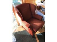 Armchair - wing back chair upholstered - red