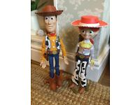 The Disney store toy story woody Jessie talking full size figures with stands IMMACULATE CONDITION