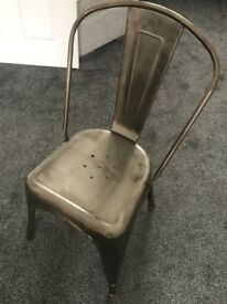 Tolix style chair in steel / silver