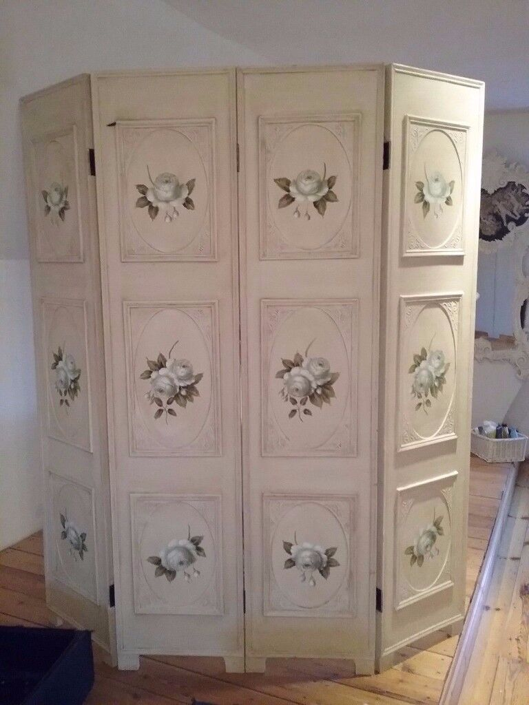 HAND MADE SHABBY CHIC VINTAGE ROSE ROOM DIVIDER WOODEN DRESSING