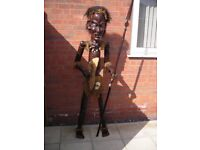 African Tribal Art large dark solid wood witchdoctor