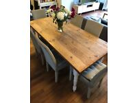 Reclaimed Pine Dining Table with Painted Legs