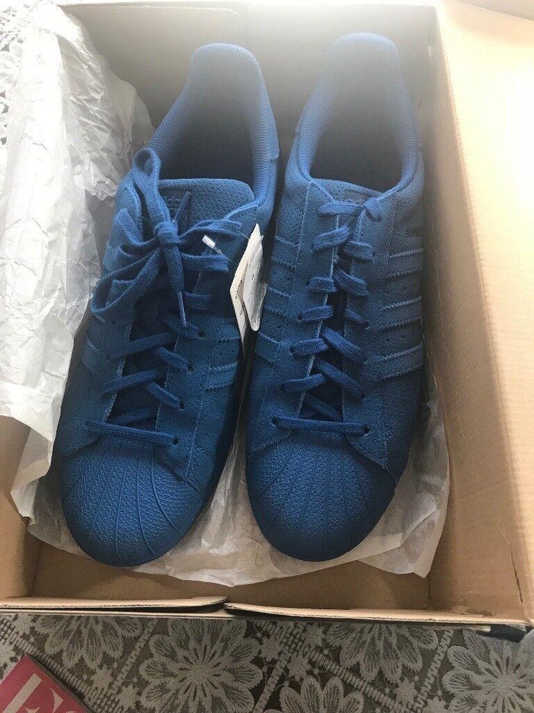 781c36f53606 BNWB   Genuine Adidas Originals Superstar RT Triple Blue Suede Trainers  UK12.5