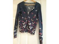 Womens blue butterfly patterned size 8 cardigan