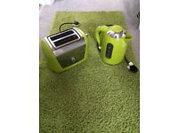 Green Russel Hobbs kettle & toaster with matching mat