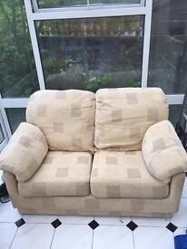 2 seater cream settee and chair
