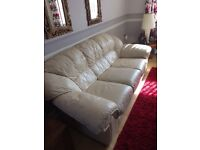 Cream leather sofa and one chair