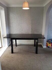 Black Glass Extending Table
